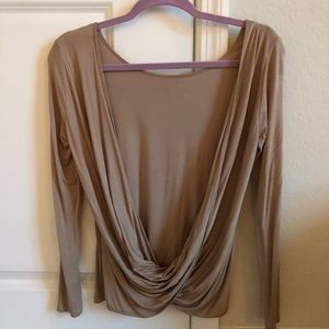 Lulu*s XS taupe long sleeve backless top